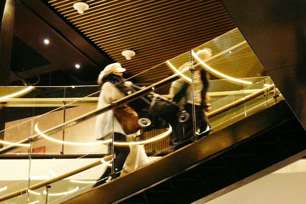 Triplassa kannetaan lastenrattaita portaissa